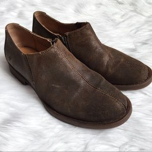 Born Brown Leather Booties Slip On Shoes